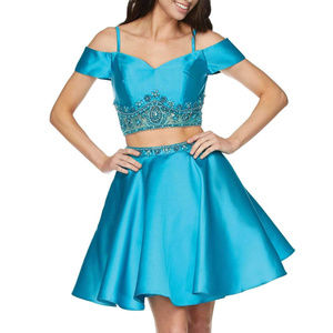 NWT Short 2-piece Prom Dress with sequin beads